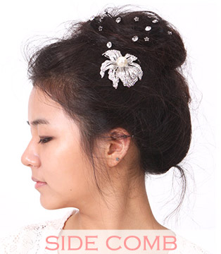 medium wedding hair side comb